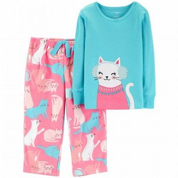 Carter's 2PC Snow Kitty Snug Fit Cotton & Fleece PJs