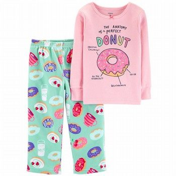 Carter's 2PC Glitter Donut Snug Fit Cotton & Fleece PJs