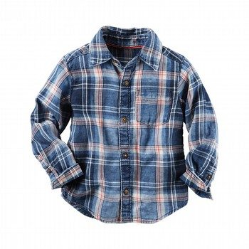 Carter's Chambray Acid-Washed Plaid Button-Front Shirt
