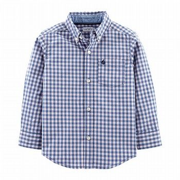 Carter's Gingham Poplin Button-Front L/S Shirt
