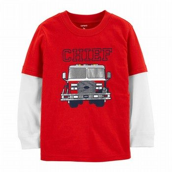 Carter's Chief Firetruck Layered Look Tee