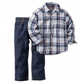 Carter's 2PC L/S Plaid Shirt & Pant Set