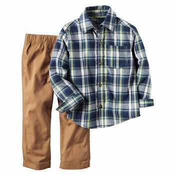 Carter's 2PC Plaid Button-Front & Khaki Pant Set