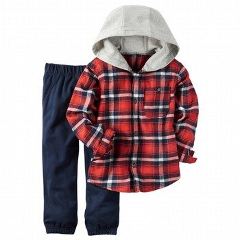 Carter's 2PC Hooded Button-Front Shirt & Jogger Set