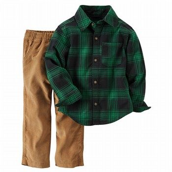 Carter's 2PC Plaid Button-Front Top & Corduroy Pant Set