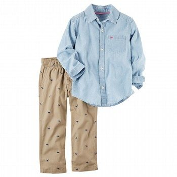 Carter's 2PC Chambray Shirt & Canvas Pant Set