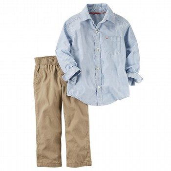 Carter's 2PC Striped Button-Front & Canvas Pant Set