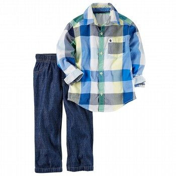 Carter's 2PC Checkered Button-Front & Denim Pant Set