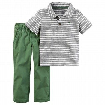 Carter's 2PC Striped Polo & Canvas Pant Set