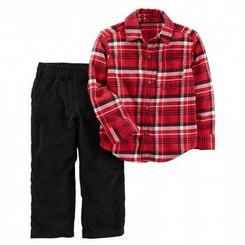 Carter's 2PC Set LS Red Plaid Black Pant