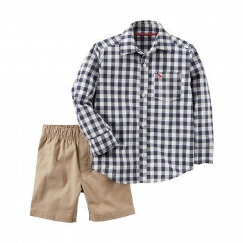 Carter's 2PC Checkered Button-Front & Canvas Short Set