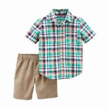 Carter's 2PC Plaid Top & Poplin Short Set