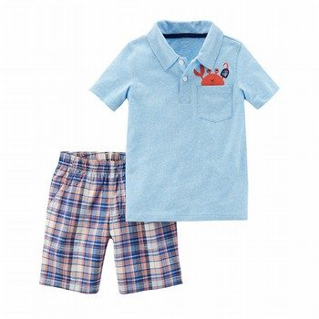 Carter's 2PC Jersey Polo & Plaid Short Set