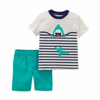 Carter's 2PC Slub Jersey Tee & Poplin Short Set
