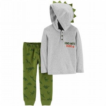 Carter's 2PC Dinosaur Hooded Henley & Jogger Set