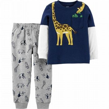 Carter's 2PC Giraffe Layered-Look Tee & Animal Jogger Set