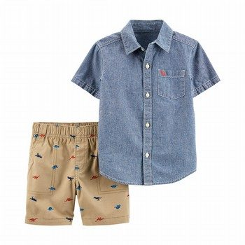 Carter's 2PC Chambray Button-Front & Dinosaur Short Set