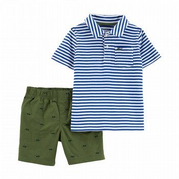 Carter's 2PC Striped Jersey Polo & Sunglasses Short Set