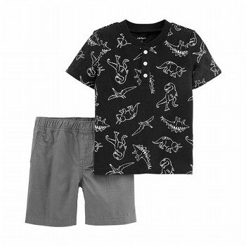 Carter's 2PC Dinosaur Slub Jersey Henley & Canvas Short Set