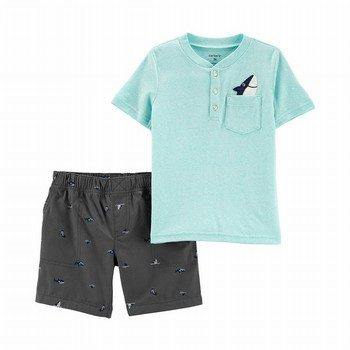 Carter's 2PC Snow Yarn Henley & Shark Short Set