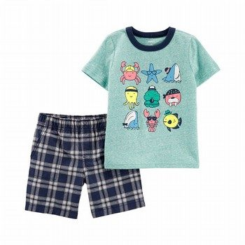 Carter's 2PC Shark Snow Yarn Tee & Plaid Short Set