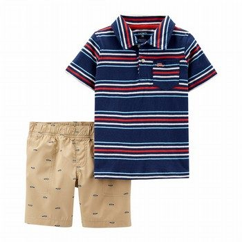 Carter's 2PC Striped Jersey Polo & Schiffli Short Set