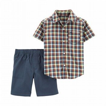 Carter's 2PC Plaid Button-Front Top & Canvas Short Set