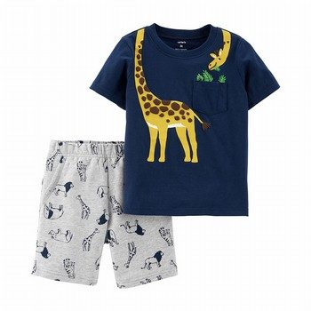 Carter's 2PC Giraffe Tee & Animal Short Set