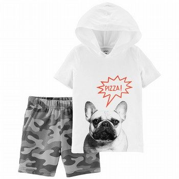 Carter's 2PC French Bulldog Hoodie & Camo Short Set
