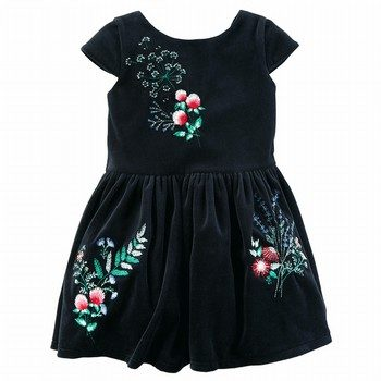 Carter's Embroidered Floral Velvet Dress