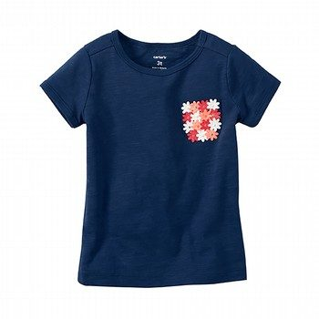 Carter's Floral Embellished Pocket Tee