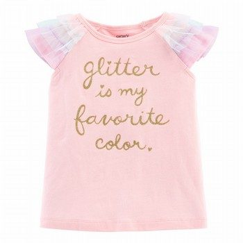 Carter's Glitter Tulle-Sleeve Top