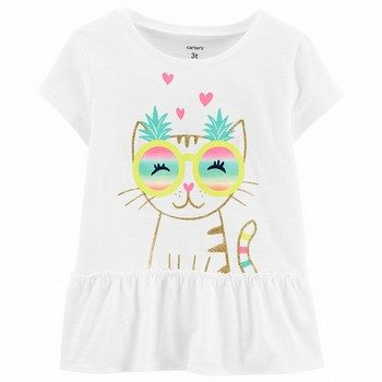 Carter's Kitty Ruffle Slub Tee