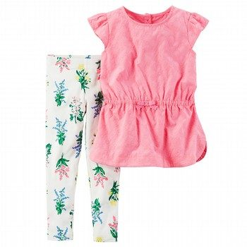 Carter's 2PC Flutter Sleeve Top & Print Legging Set
