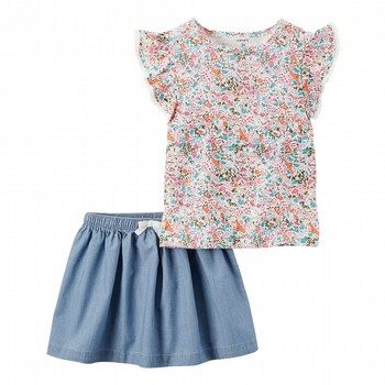 Carter's 2PC Floral Top & Chambray Skirt Set