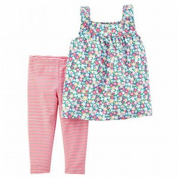 Carter's 2PC Floral Tie Shoulder Top & Striped Legging Set