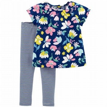 Carter's 2PC Floral Top & Striped Legging Set