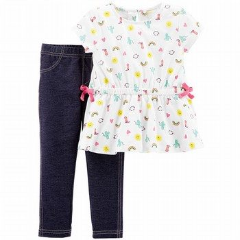 Carter's 2PC Rainbow Top & Knit Denim Legging Set