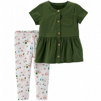 Carter's 2PC Button-Front Ruffle Top & Legging Set