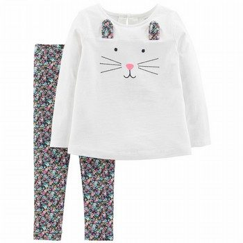 Carter's 2PC Bunny Top & Floral Legging Set