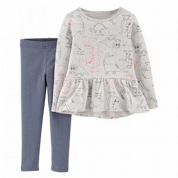 Carter's 2PC Dino Peplum Top & Legging Set