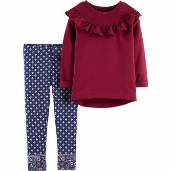 Carter's 2PC Ruffle Top & Jacquard Legging Set