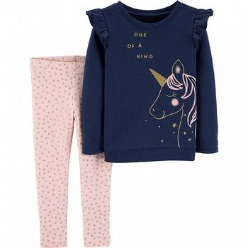 Carter's 2PC Unicorn Fleece Top & Star Legging Set