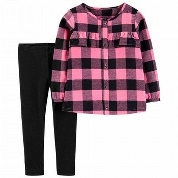 Carter's 2PC Plaid Flannel Top & Legging Set