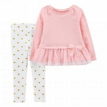 Carter's 2PC Bow Peplum Top & Striped Legging Set