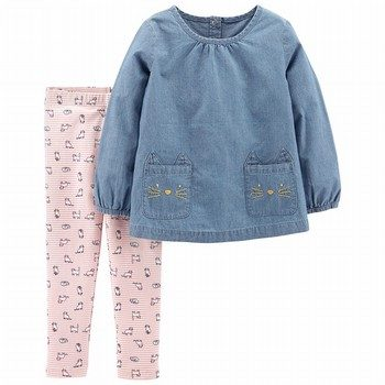 Carter's 2PC LS Chambray Top & Legging Set