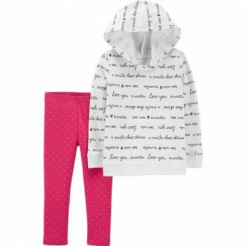 Carter's 2PC Slogan Hoodie & Polka Dot Legging Set