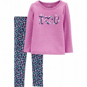 Carter's 2PC I Love You Slub Top & Floral Legging Set