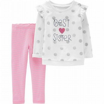 Carter's 2PC Best Sister Sequin Top & Striped Legging Set