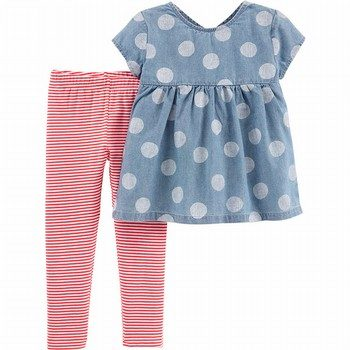Carter's 2PC Polka Dot Chambray Top & Striped Legging Set